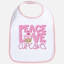 Peace Love Cupcake Bib