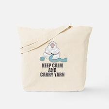 Cool Keep calm and carry yarn Tote Bag