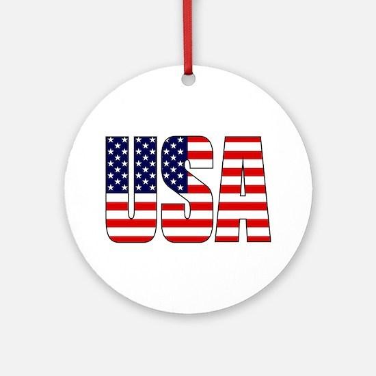 USA Flag Ornament (Round)