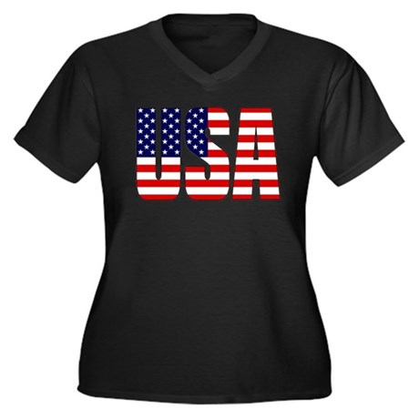 Usa Flag Women 39 S Plus Size V Neck Dark T Shirt Usa Flag