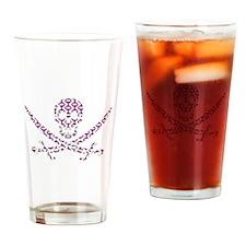 Purple Retro Wave Calico Jack Skull Drinking Glass