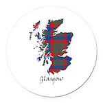 Map - Glasgow dist. Round Car Magnet