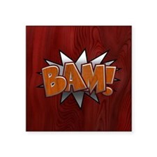 "Metal-Wood Bam Square Sticker 3"" x 3"""