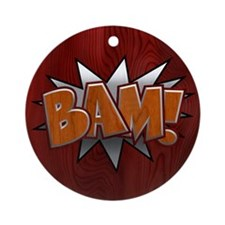 Metal-Wood Bam Ornament (Round)