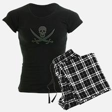 Black Linen Calico Jack Skull Pajamas