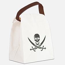 Black Linen Calico Jack Skull Canvas Lunch Bag