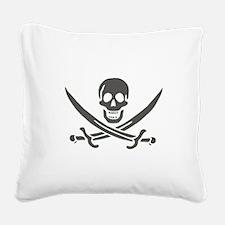 Black Linen Calico Jack Skull Square Canvas Pillow