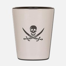 Black Linen Calico Jack Skull Shot Glass
