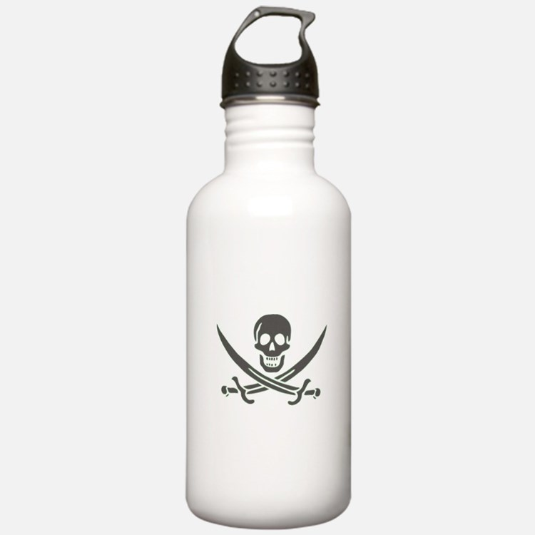 Black Linen Calico Jack Skull Water Bottle