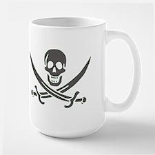 Black Linen Calico Jack Skull Mugs