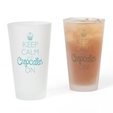 Keep Calm and Cupcake On Drinking Glass