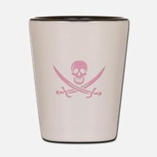 Pink Linen Calico Jack Skull Shot Glass