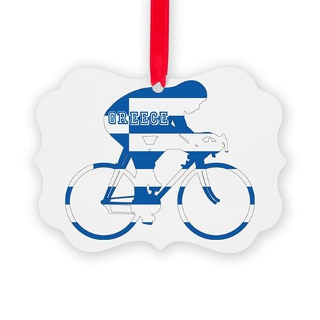 Greek Cycling Picture Ornament
