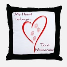 Weimaraner Heart Belongs Throw Pillow