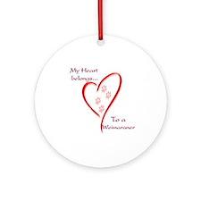 Weimaraner Heart Belongs Ornament (Round)