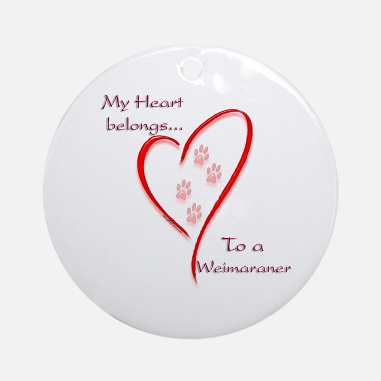Weimaraner Heart Belongs Ornament (Round)