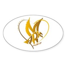 Mark gold eagle in a heart Oval Decal