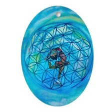 Sacred Geometry on Ice Oval Ornament