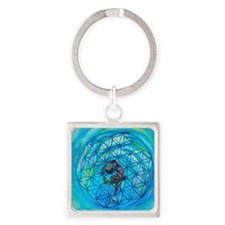 Sacred Geometry on Ice Square Keychain