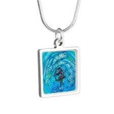 Sacred Geometry on Ice Silver Square Necklace