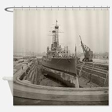 Battleship in Dry Dock, 1920 Shower Curtain