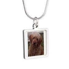 Golden Doodle Silver Square Necklace