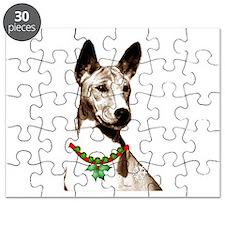 Basenji Holiday by madeline wilson Puzzle