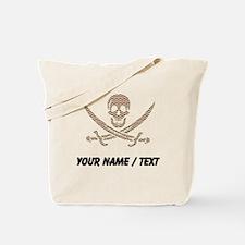 Custom Brown Herringbone Bricks Calico Jack Skull