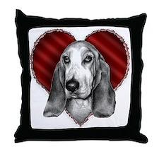 Basset Hound Valentine Throw Pillow