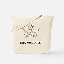 Custom Brown Herringbone Calico Jack Skull Tote Ba