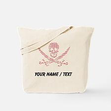 Custom Red Herringbone Calico Jack Skull Tote Bag