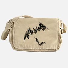 Grinning Skulls and Roses Bats Messenger Bag