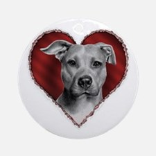 Pit Bull Terrier Valentine Ornament (Round)