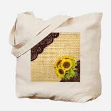 lace burlap sunflower western country Tote Bag