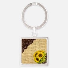 lace burlap sunflower western coun Square Keychain