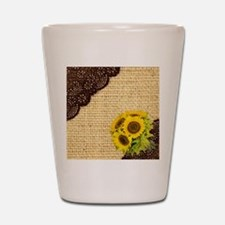 lace burlap sunflower western country Shot Glass