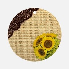 lace burlap sunflower western count Round Ornament