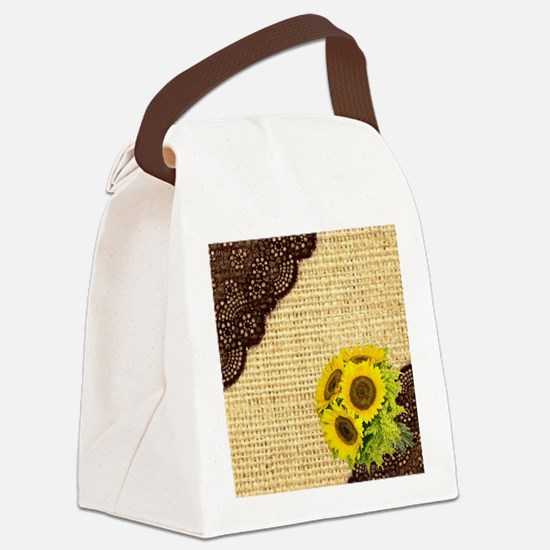 lace burlap sunflower western cou Canvas Lunch Bag