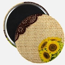 lace burlap sunflower western country Magnet