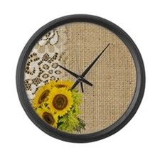 lace burlap sunflower western cou Large Wall Clock