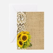 lace burlap sunflower western countr Greeting Card
