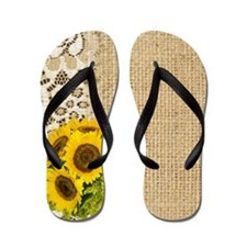 lace burlap sunflower western country Flip Flops