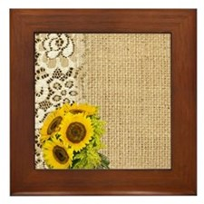 lace burlap sunflower western country Framed Tile