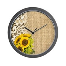 lace burlap sunflower western country Wall Clock
