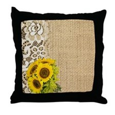 lace burlap sunflower western country Throw Pillow