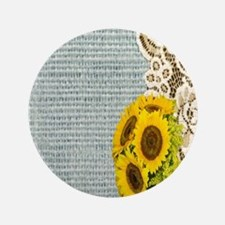 """lace burlap sunflower western country 3.5"""" Button"""