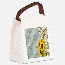 lace burlap sunflower western cou Canvas Lunch Bag