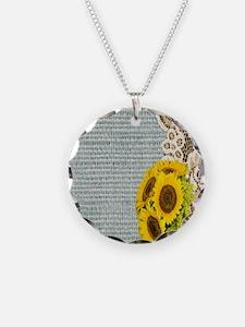 lace burlap sunflower wester Necklace