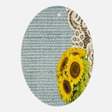 lace burlap sunflower western countr Oval Ornament