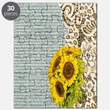 lace burlap sunflower western country Puzzle